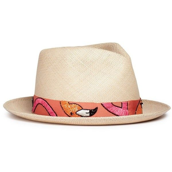My Bob  24 Hours  flamingo embroidery straw fedora hat (2 3341af3ac24