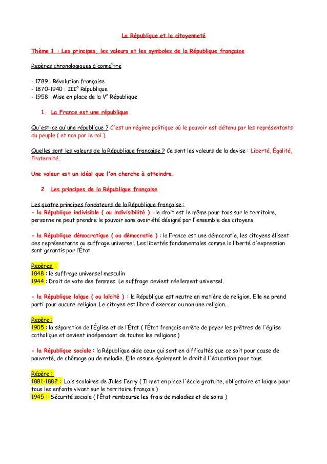 La Republique Et La Citoyennetetheme 1 Les Principes Les Valeurs Et Les Symboles De La Republique Francais Symbole De La Republique Symbole Regime Politique