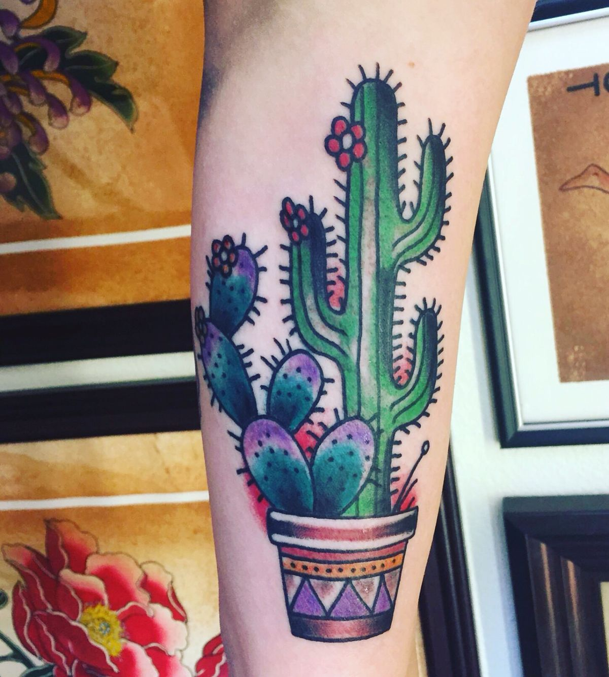 Traditional Style Cactus Tattoo Cactus Tattoo Tattoos For Guys Candle Tattoo Design