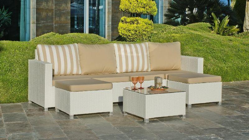 Salon de jardin résine Cancun 6 places avec coussins beige ...