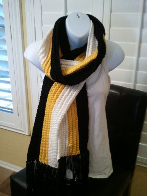 0a0aa3ee Football Scarf Pittsburg Steelers Colors by kraftychix on Etsy ...