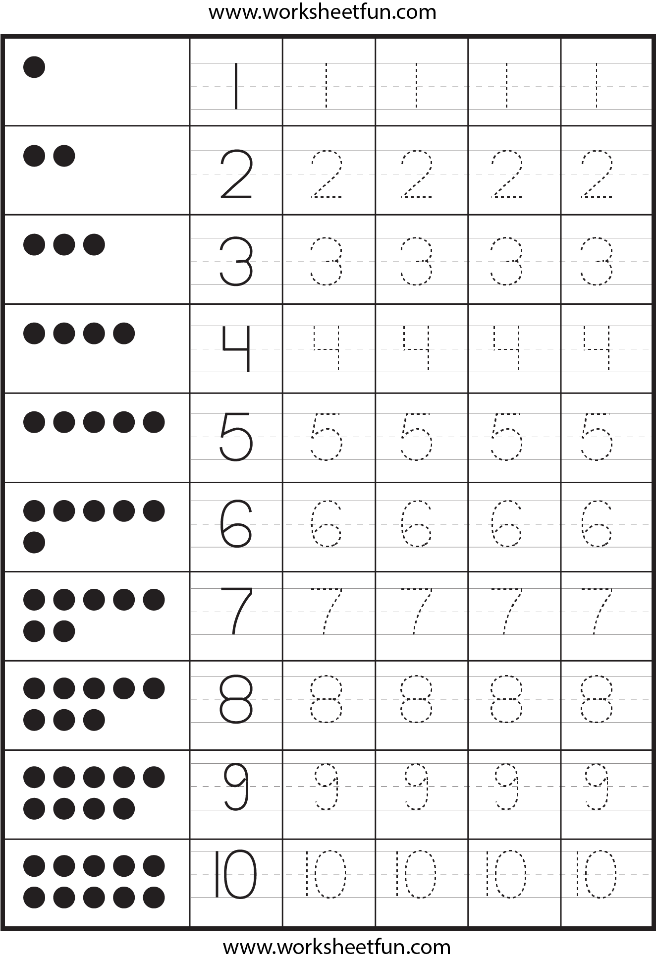 Number Tracing 4 Worksheets