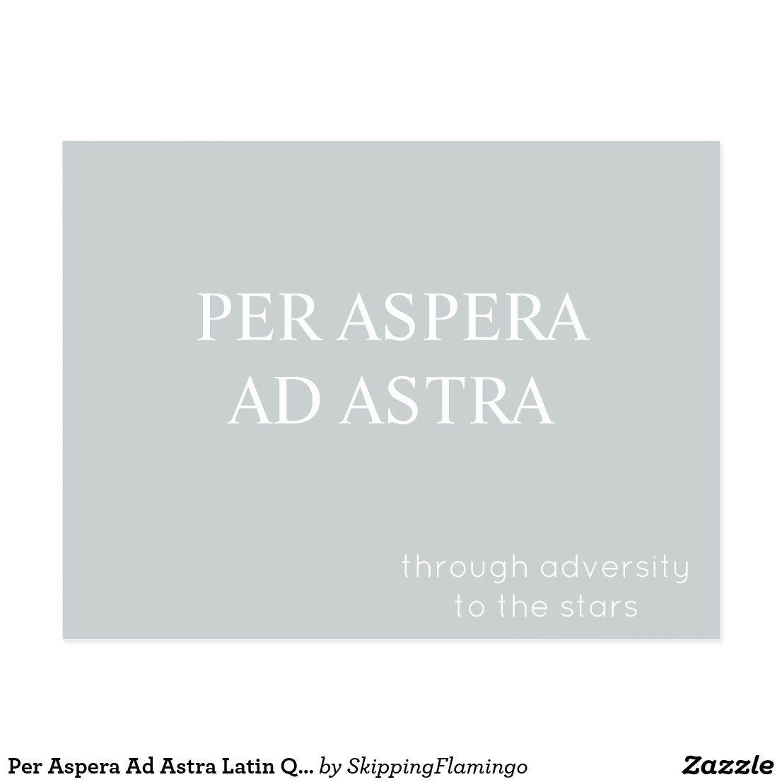 Per Aspera Ad Astra Latin Quote Postcard - Grey | Zazzle.com