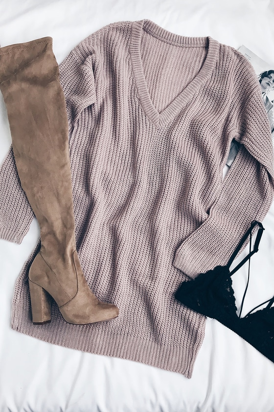 Bringing Sexy Back Mauve Backless Sweater Dress #sweaterdressoutfit
