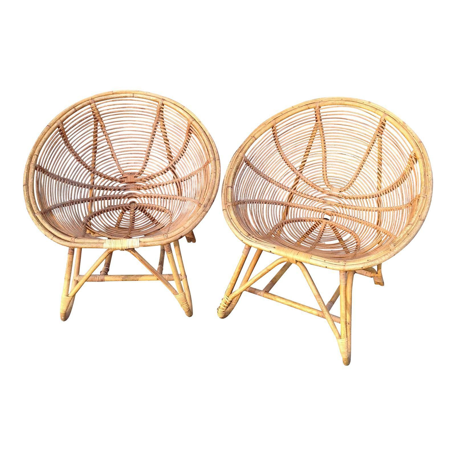 Image of antique bamboo and rattan egg chairs pair