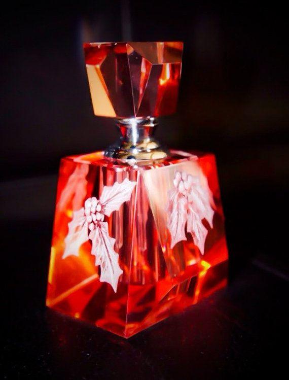 Fragrance bottle engraved Holly home decor wedding by AkokoArt