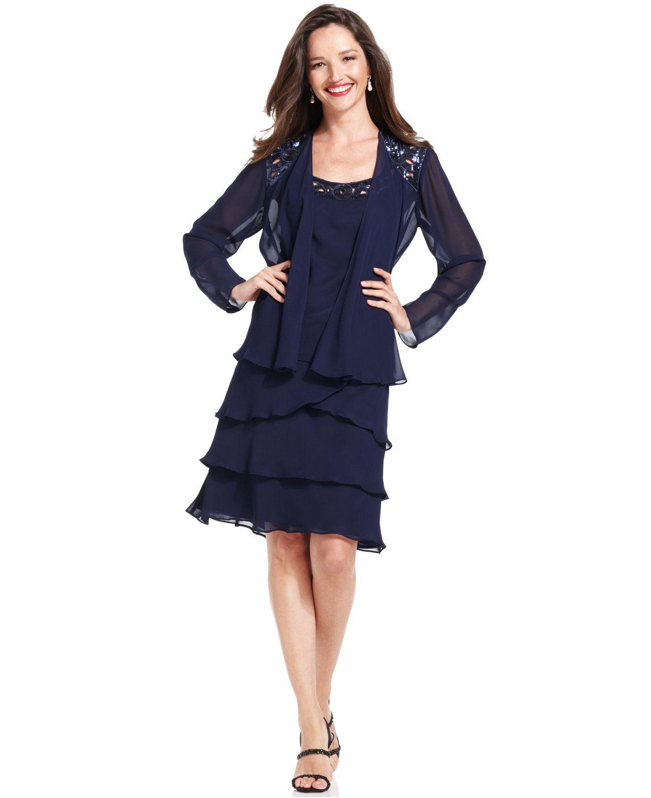 Sl sl fashion dresses - Sl Fashions Sleeveless Sequin Tiered Dress And Jacket Dresses Women Macy S