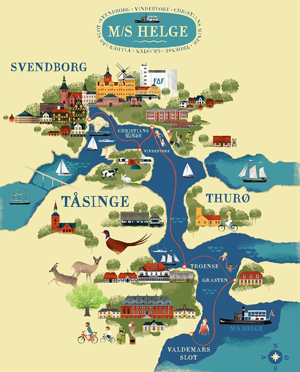 Svendborg and surrounding islands map by Martin Schwartz Map