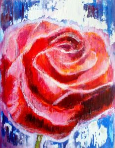 Acrylic and oil pastel painting : One Rose