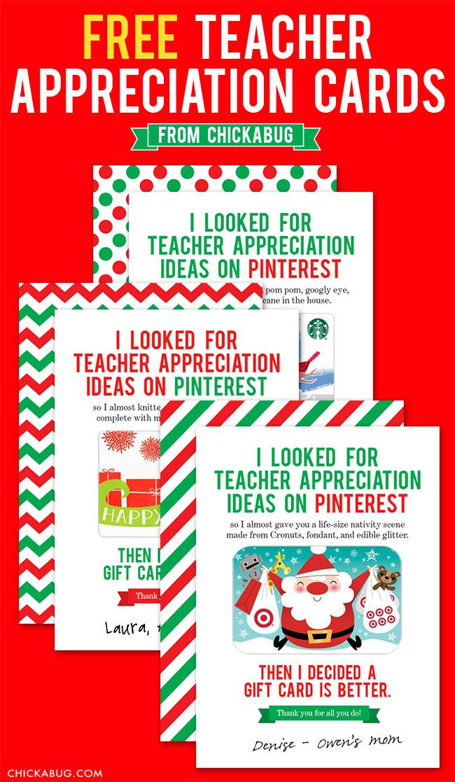 photograph about Printable Christmas Cards for Teachers titled Totally free instructor appreciation playing cards for the vacations