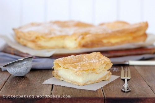 Polish Vanilla Slice (Karpatka) Recipe   Large rectangular profiterole filled with pastry cream.