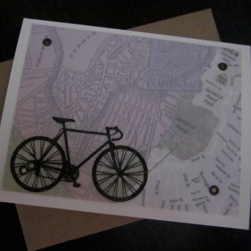 Boston Bike And Map Screen Printed Gocco Card 4 00 Via Etsy Screen Printing Prints Cards