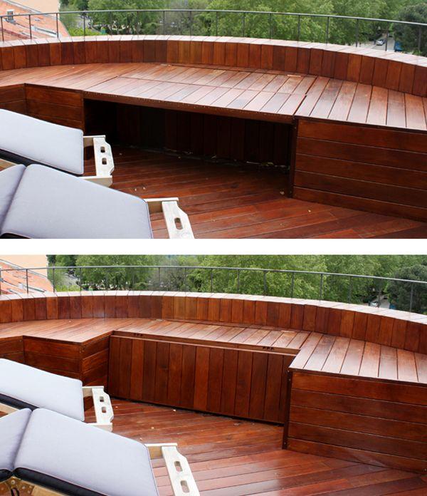 Madera exterior banco ba l realizado con madera de ipe - Ideas para aticos ...