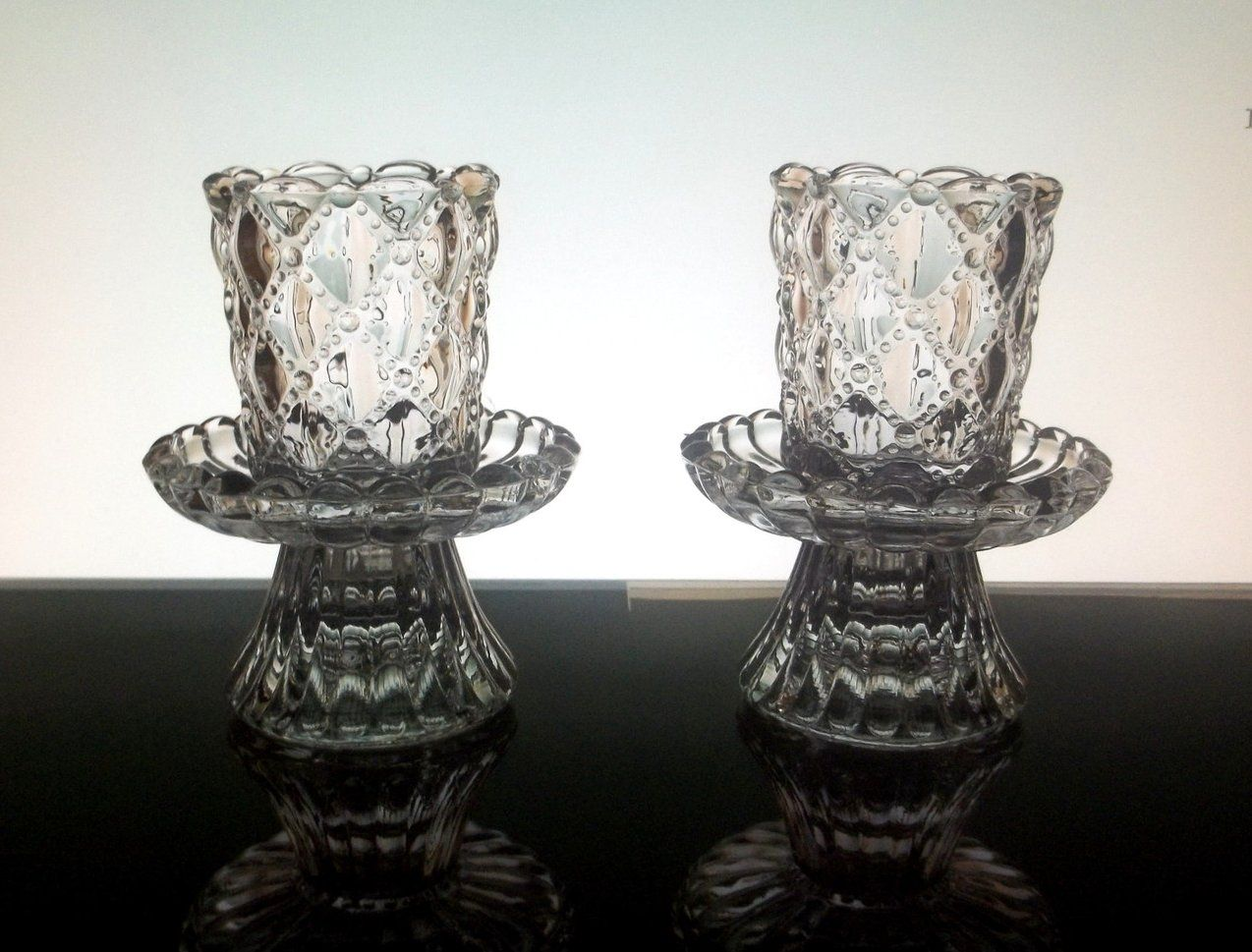 Partylite Crystal Candle Holders Quilted P9246 Set Of 2