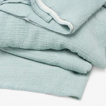 Coyuchi Cozy Cotton Blanket Sea Spray Cotton Blankets Coyuchi Sea Spray