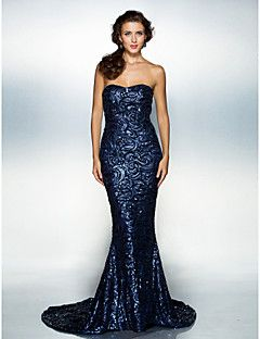 64e760b8c63 Fiesta formal Vestido - Azul Marino Oscuro Corte Sirena Cola Corte - Escote  Corazón Con lentejuelas Tallas grandes