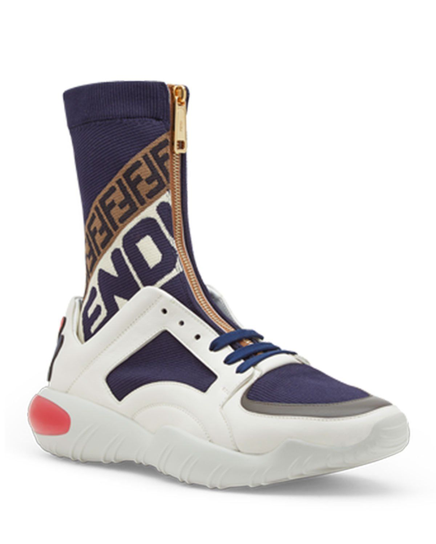 FENDI MEN S FENDI MANIA ZIP-FRONT SOCK SNEAKERS.  fendi  shoes ... 3ff890900