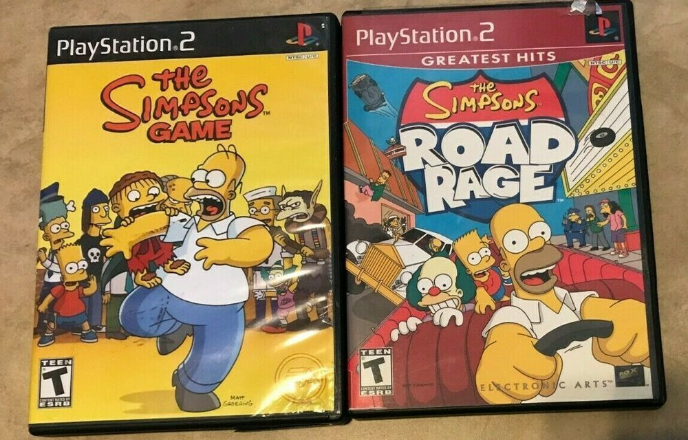 LOT 2 Simpsons Sony PlayStation 2 Games in cases Hit & Run
