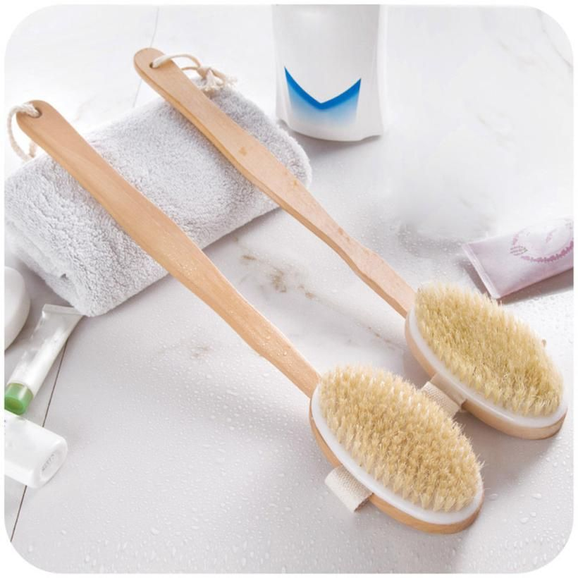 Long Wooden Handle Bath Body Brush Boar Bristles Exfoliating Body