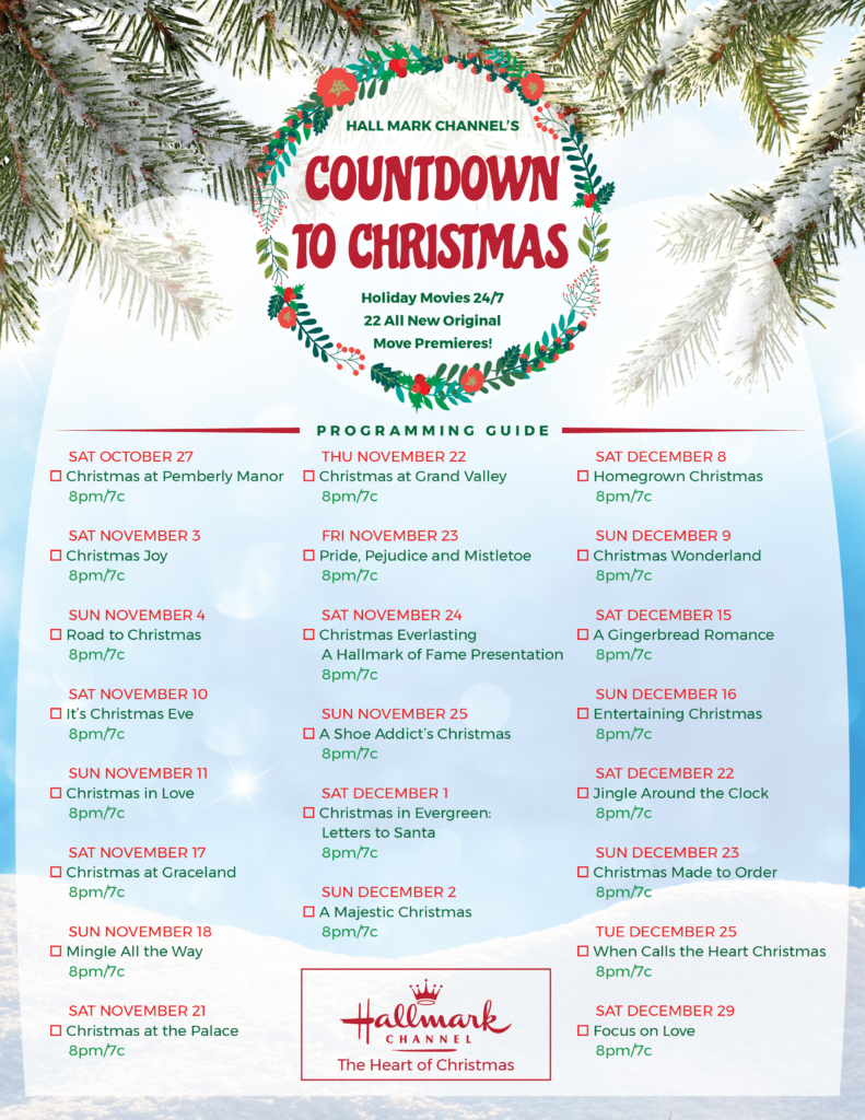 Printable Hallmark Christmas movie checklist. holiday