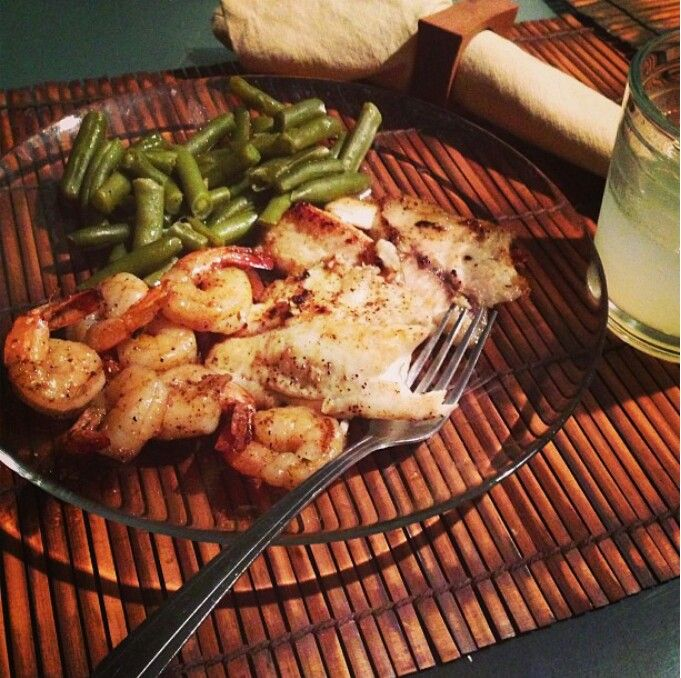 Shrimp, salmon, and green beans