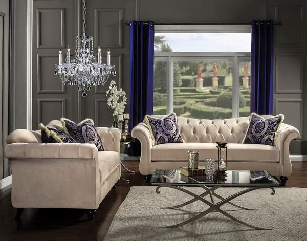 Antoinette Traditional Sofa  Love Seat Chesterfield sofa
