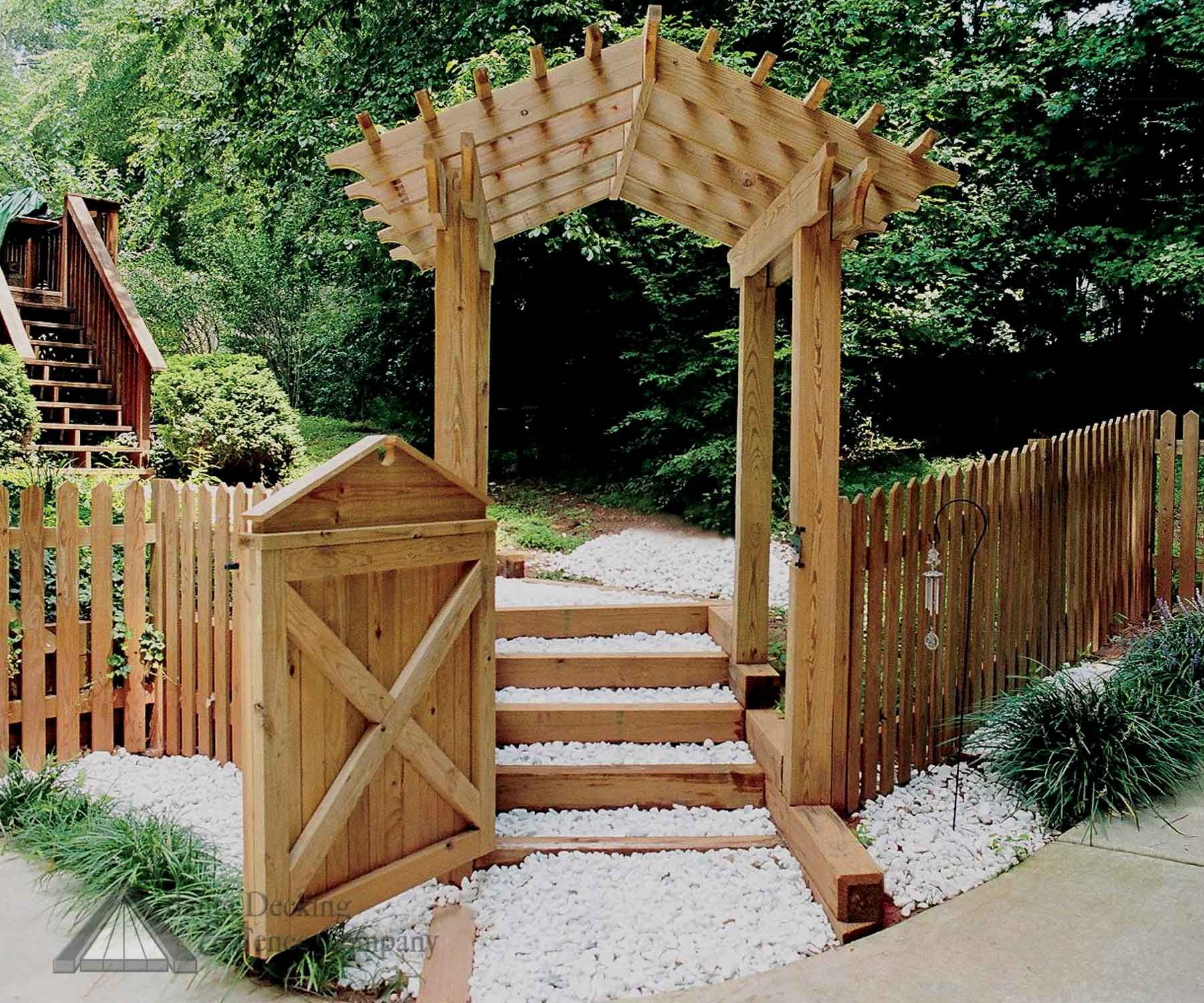 Arbor gates fence with fancy gate and gabled walk for Garden gate arbors designs