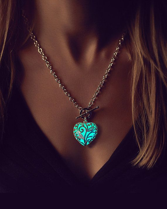 Aqua Glowing Heart Necklace   Wife Gift   Necklace   Gifts For Her   Valentine  Jewelry