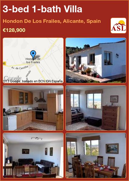 3-bed 1-bath Villa in Hondon De Los Frailes, Alicante, Spain ►€128,900 #PropertyForSaleInSpain