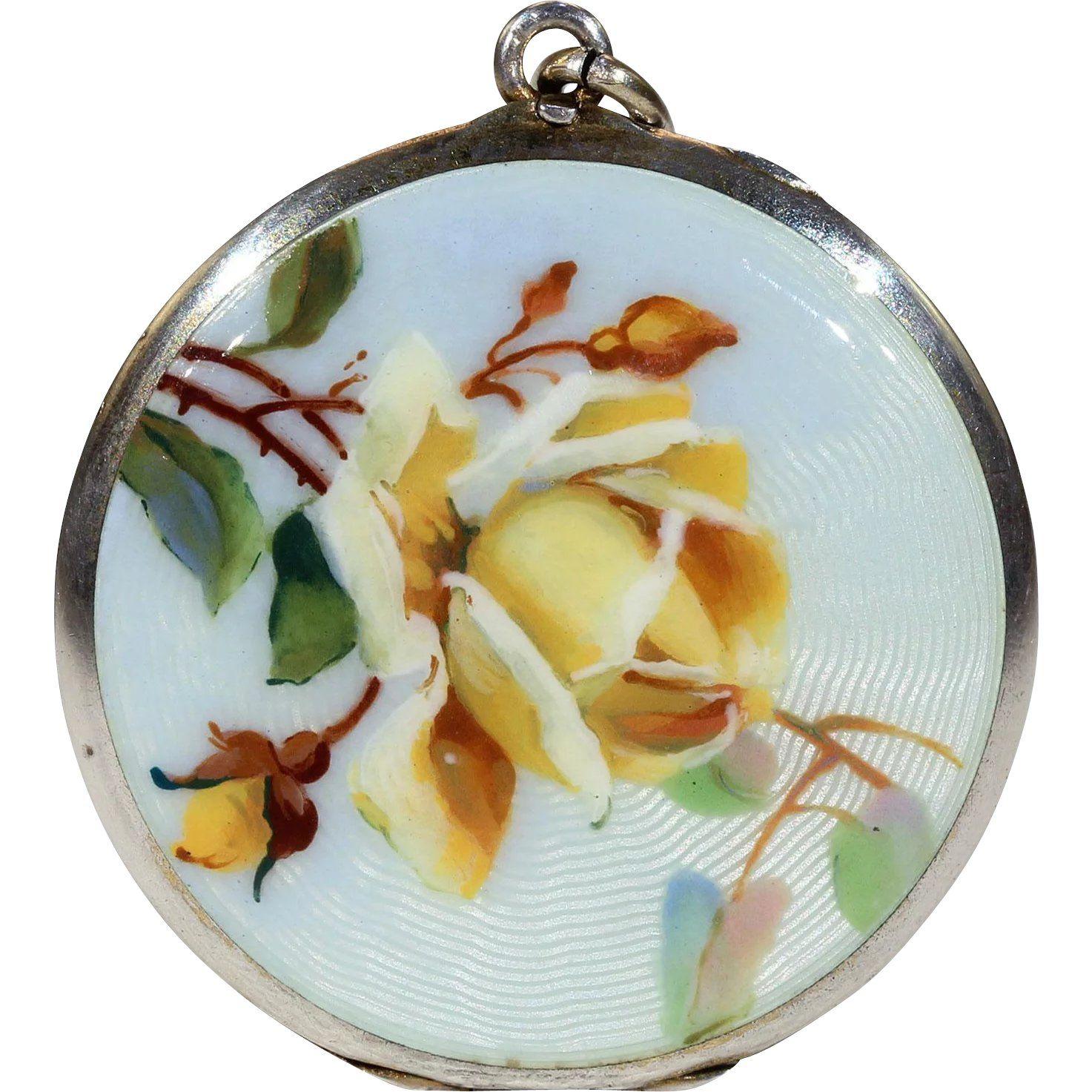 Antique victorian enamel yellow rose locket silver birthstones and