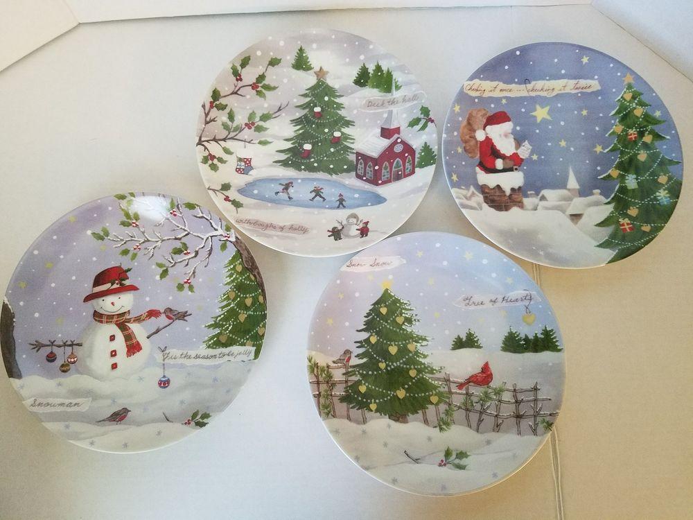 Lenox Christmas Collage Set Of 4 Party Plates Nib Pottery Amp Glass Pottery Amp China China Amp Dinner Christmas Collage Lenox Christmas Party Plates
