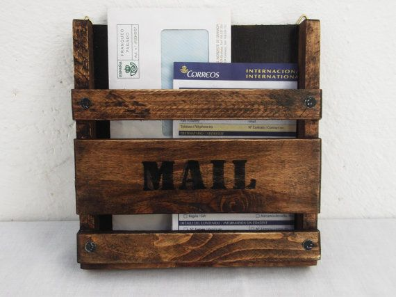 Rustic Wooden Mail Holder Wall Hanging Mail Organizer Etsy Mail Holder Wall Hanging Mail Organizer Mail Holder