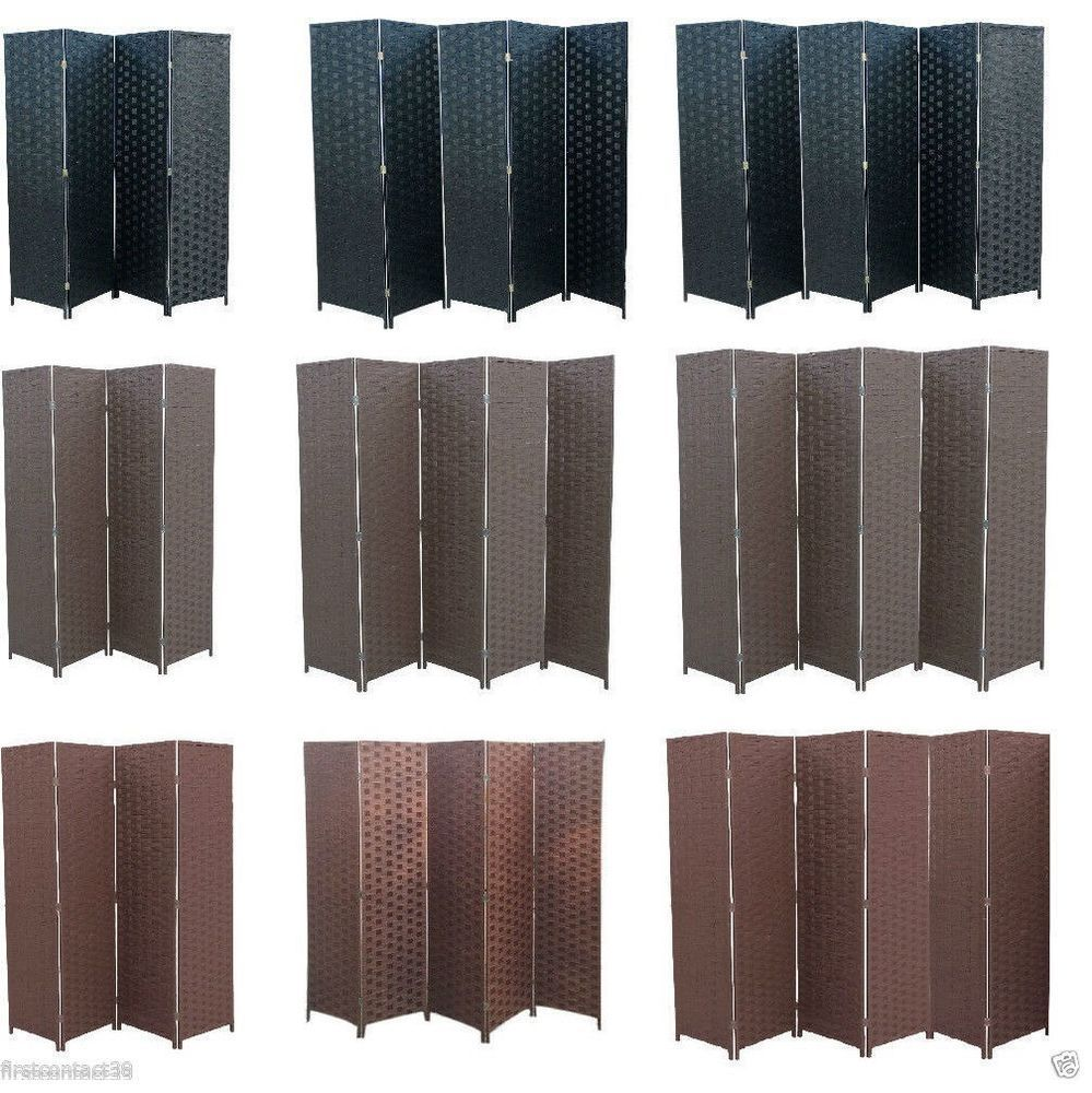 Partition folding room divider separator privacy screen panel black