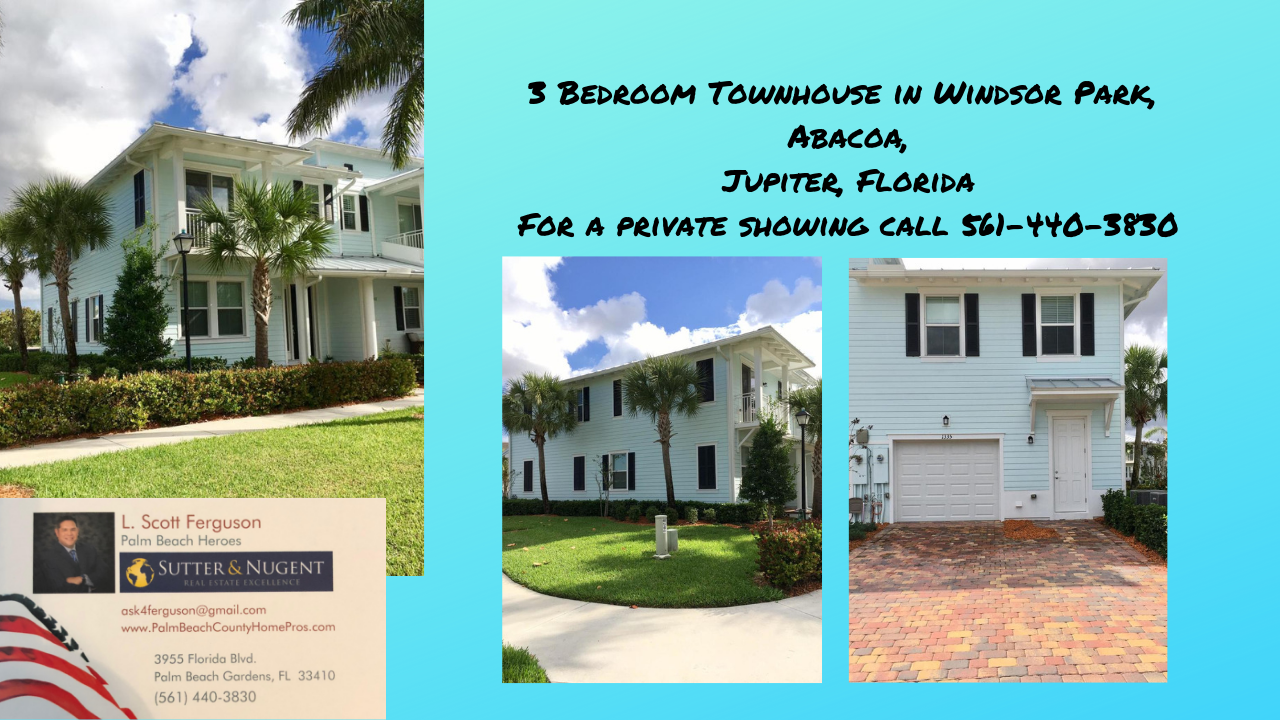 For Lease 2500 Mo 3 Bedroom Townhouse In Windsor Park Abacoa Jupiter Florida Agentferguson Realestate Real Estate Buying Florida Real Estate Windsor Park