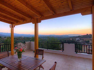 Rethymno villa rental The balcony has a dining table
