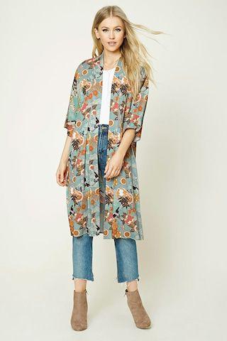 Ornate Floral Print Kimono - Women - Outerwear - Kimonos   Blazers ...
