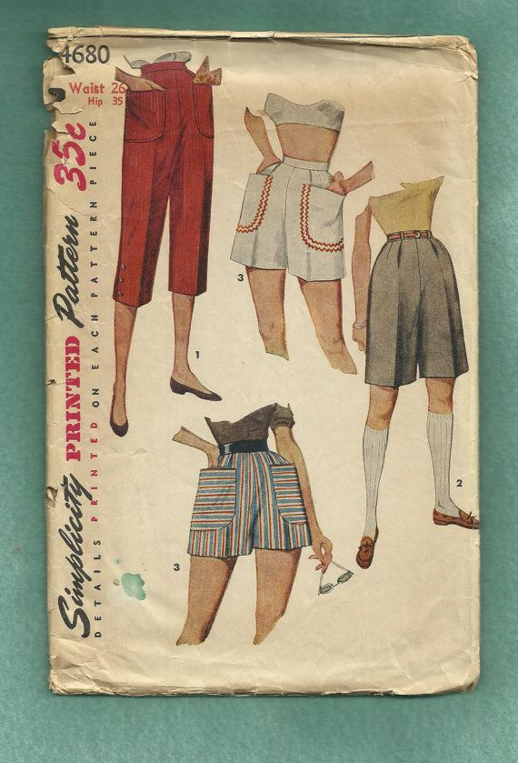 1954 Simplicity 4680 Pedal Pushers & Shorts with by MrsWooster, $8.50