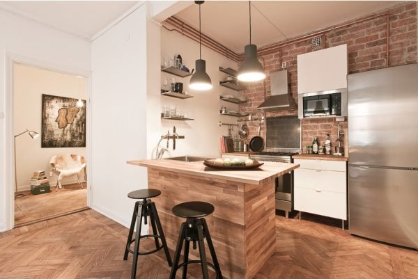 Tiny But Trendy Open Space Apartment Featuring Exposed Brick Inspiration Open Kitchen Wall To Dining Room Inspiration Design