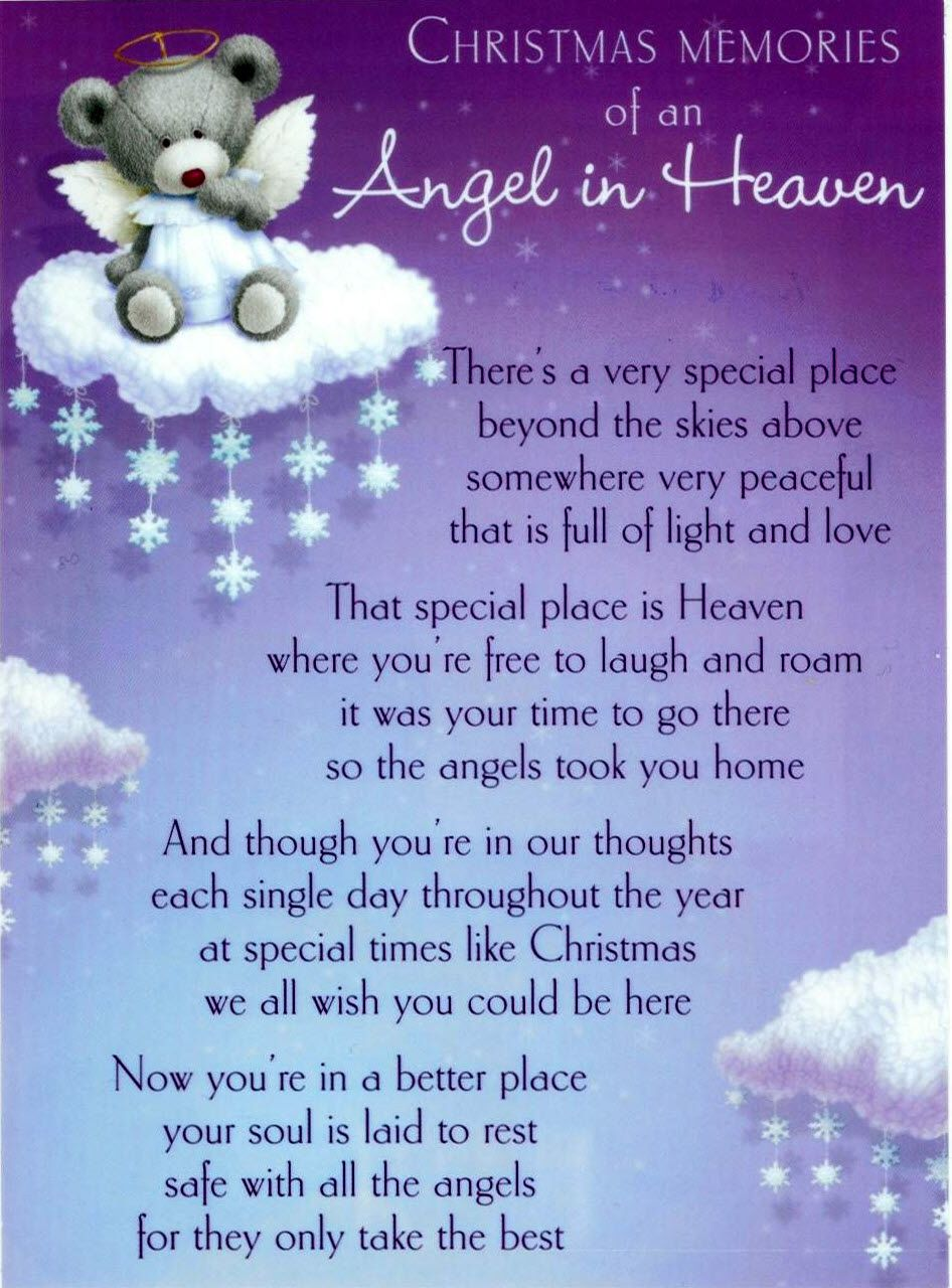 My Angel In Heaven Poem We Can Shed Tears That You Are Gone