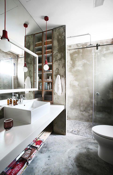 Estrich Der Fussboden Im Industrial Style Badezimmer Innenausstattung Badezimmer Gestalten Rustikale Bader