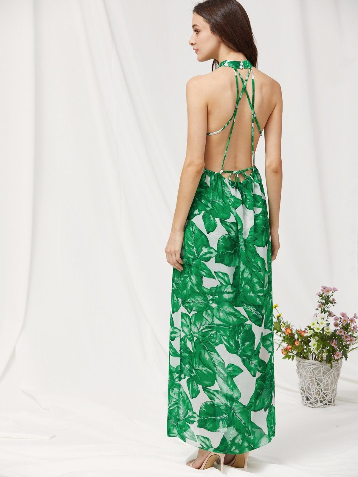 f8408f3ea78 Cute Green Chiffon Palm Leaf Print Crisscross Back Slit Halter A Line Maxi  Dress