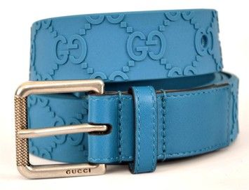05a7962f5 GUCCI 342407 MEN'S TEAL BLUE RUBBER GG GUCCISSIMA LOGO BELT 42 105 NEW. Get  the