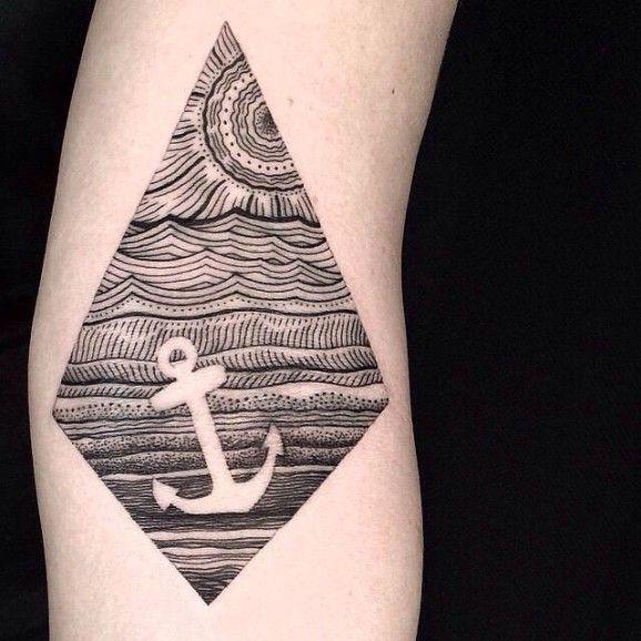 magnifique dessin au trait avec un tatouage d'ancrage de l'espace