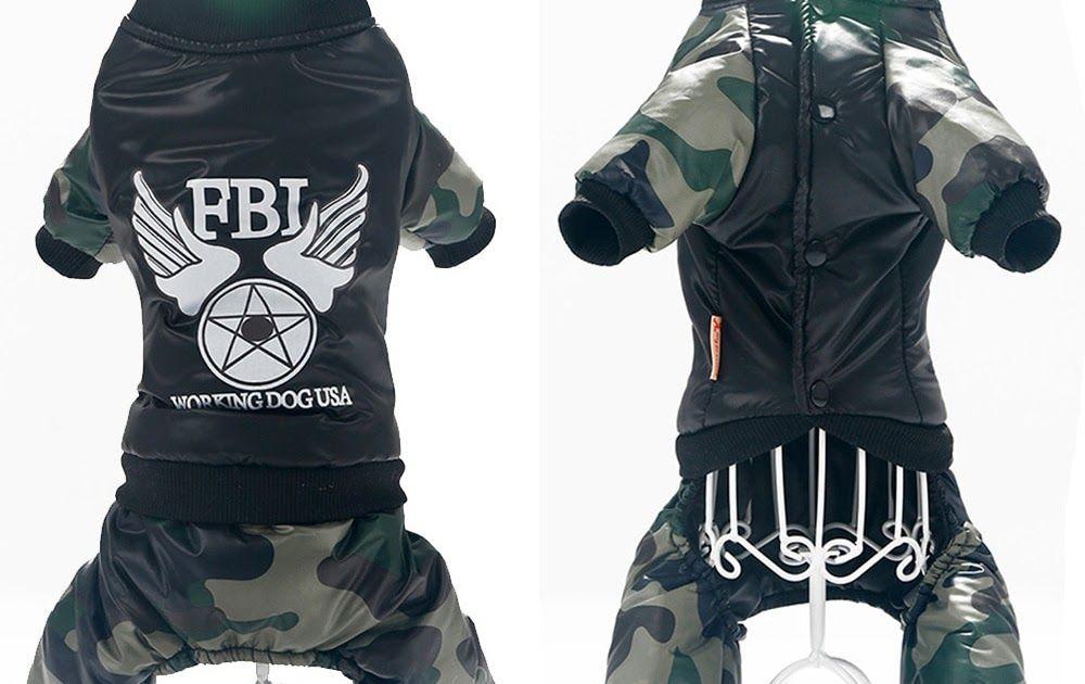 44a6bace784 Big SALE Pet Clothes Camouflage FBI legs Warm Hoodie jacket Handsome  uniform Wind Warm Comfortable Coat