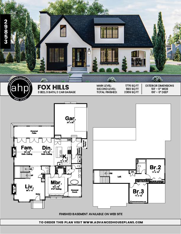 1 5 Story Modern Cottage Style Plan Fox Hills Modern Cottage Style Cottage House Plans Sims House Plans