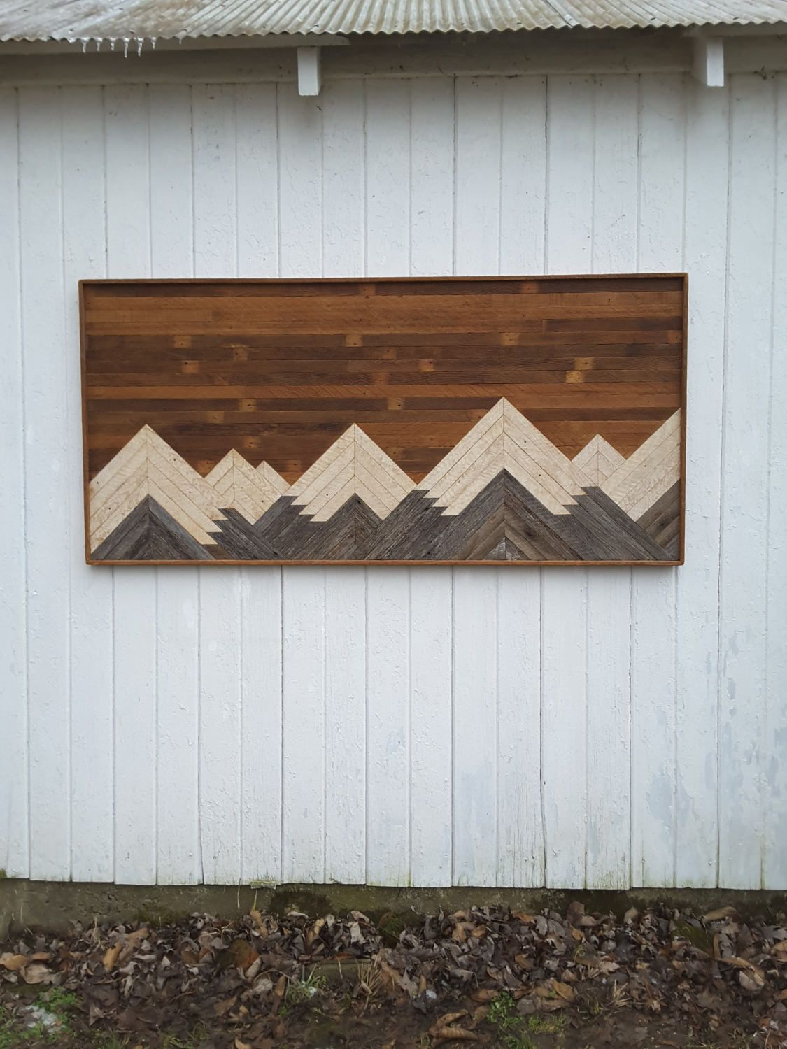 Reclaimed wood wall art mountains bedroom furniture large wall decor headboard