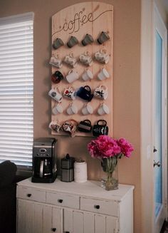 Coffee Station With Wall Mounted Mug Rack Bat