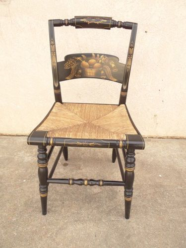 L Hitchcock Paint Decorated Black Rush Seat Side Chair A | eBay
