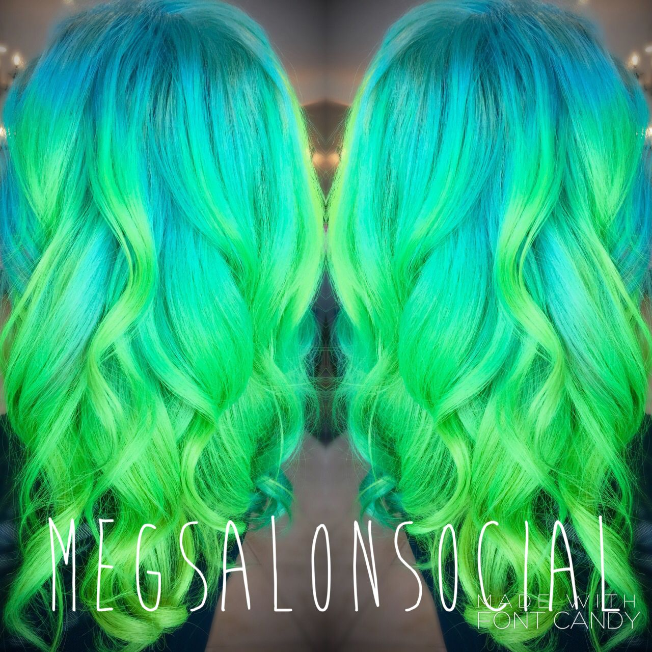 Neon green and blue hair ombré color melt pensacola florida