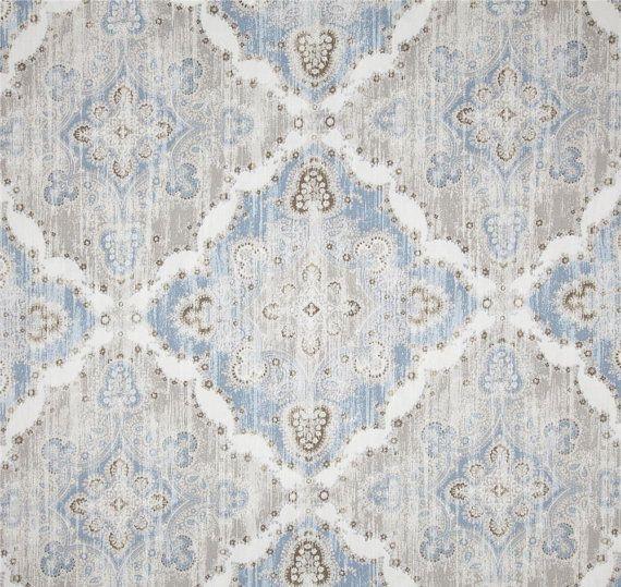Light Blue Ikat Curtains, Blue Grey Geometric Drapes, Blue Home Decor,  Modern Lattice
